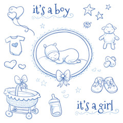 Baby shower. Cute Baby sleeping in frame with lamb, shoes, cradle, stars, hearts and pacifier. Hand drawn line art vector illustration.