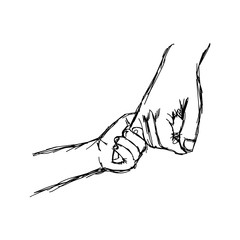 illustration vector doodle hand drawn sketch of parent holds a child's hand