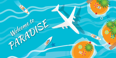 Summer vacation, time to travel - sun, sea, waves, sand, airplane, yacht, palm, island. Top view vector  illustration concept. Flat style summer background.