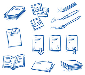 Icon set business files & communication with files, documents, books, photos, contract, pens. hand drawn vector doodle