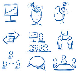 Icon set business team & communication with chart, network, speech bubbles, figures, speech, thinking. hand drawn vector doodle