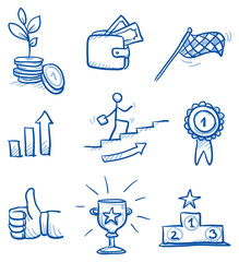 Icon set business success with money, winner's podium, trophy, thumb up, chart. hand drawn vector doodle
