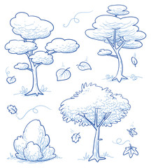 Set of cute cartoon trees, bush, forest with falling autumn leaves. Hand drawn doodle vector illustration.