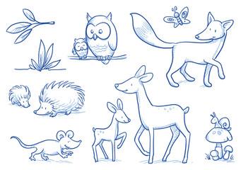 Cute cartoon forest animals. Owl, fox, deer, hedgehog, mouse. Hand drawn doodle vector illustration.
