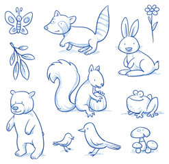 Cute cartoon forest animals. Bear, squirrel, rabbit, frog, raccoon, birds. Hand drawn doodle vector illustration.