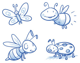 Set of cute little cartoon insects: lady bug, bee, butterfly and firefly. For children or baby shower cards. Hand drawn vector illustration.