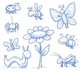 Set of cute little cartoon insects and small animals: Bugs, bee, caterpillar, butterfly, firefly, spider, grasshopper and flower. For children or baby shower cards. Hand drawn vector illustration.