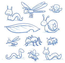 Set of cute little cartoon insects and small animals: Bugs, bee, worm, caterpillar, butterfly, spider, snail, dragonfly and leaf. For children or baby shower cards. Hand drawn vector illustration.