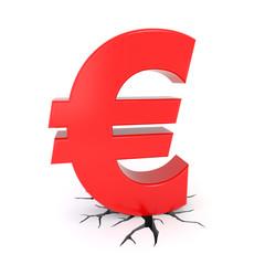 Euro symbol breaking the ground
