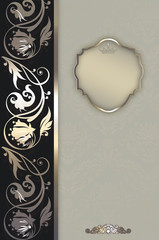 Wall Mural - Decorative floral background with frame.
