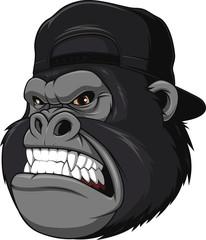Ferocious gorilla in a cap