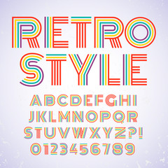 Old style alphabet. Retro type font disco, vintage typography poster with sunbeams textured background vector, EPS10. Colorful palette