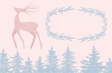 Pastel deer card template