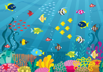 Undersea / Cartoon illustration of underwater world with corals and fish.