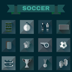 Football Game Flat Design Icons