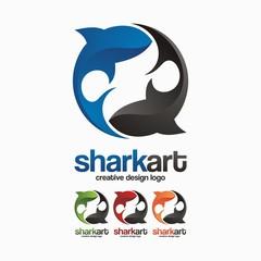 Creative Circle Design Logo Template Of Twins Shark