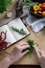 Hands cutting dill