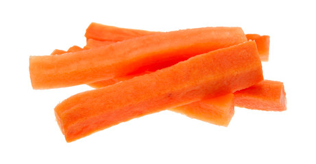 Carrot sticks on a white background