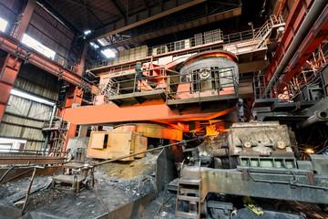 Metal smelting furnace in steel mills
