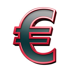 Euro sign from black with red shiny frame alphabet set, isolated on white. Computer generated 3D photo rendering.