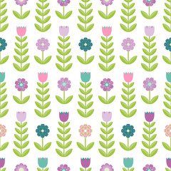 Flower seamless pattern on the white background. Vector illustration.