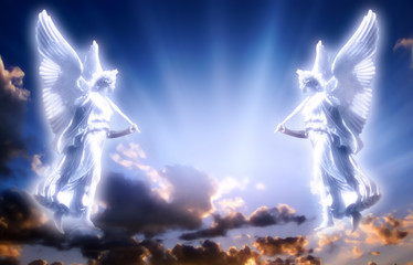 Angels with divine Light Wall mural