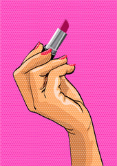 Pop art style illustration. Female hand holding lipstick