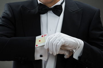 Wall Mural - Magician Performing Magic Trick With Cards