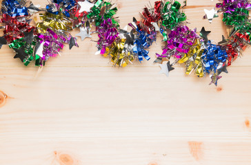 wood background and colorful ribbon
