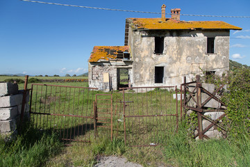 typical rural ancient house in ruin, Sardinia