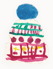 Colorful beanie with large pompon - original child illustration