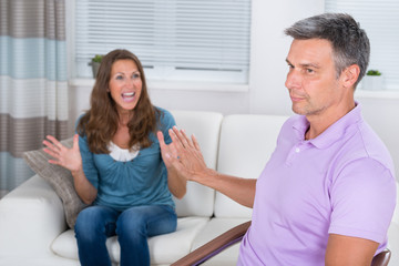 Mature Woman Arguing With Man