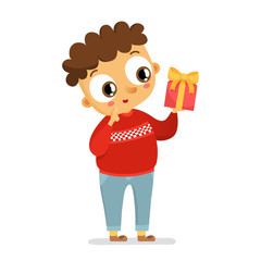 Happy vector boy holding gift isolated on white