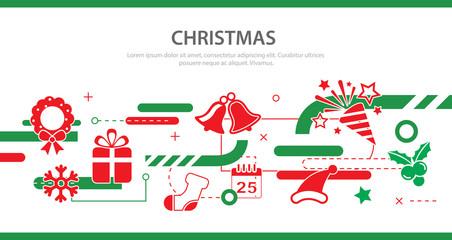 vector christmas banner flat design