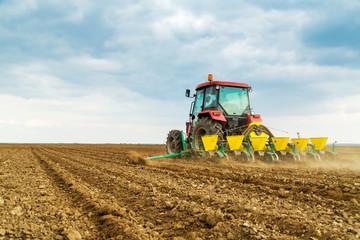 Fototapete - Farmer seeding crops at field