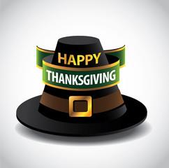 Happy Thanksgiving Pilgrim hat icon. EPS 10 vector