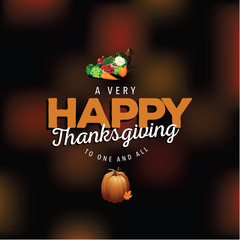 Happy Thanksgiving design with blurred background. EPS 10 vector.