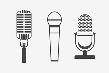 Set of microphones monochrome icons. Vector illustration.