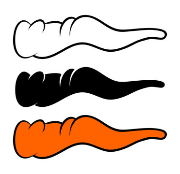 Crooked cartoon nose, carrot nose for witch or snowman icon, symbol, design. Winter vector illustration isolated on white background.