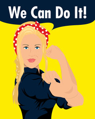 we can do it flat design blonde woman
