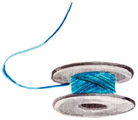 Watercolor blue thread bobbin