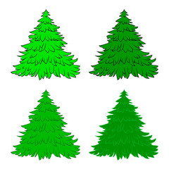 Christmas tree set, cartoon design for card,  icon, symbol. Winter vector illustration isolated on white background.