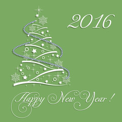 Abstract colorful background with small Christmas tree made from various decorations and the text Happy New Year written with white handwritten letters