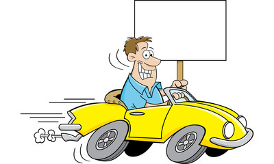 Cartoon illustration of a man driving a car and holding a sign.