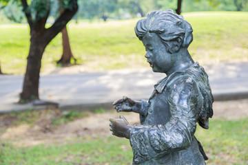 Children statue at Vachirabenjatas Park (Rot Fai Park).