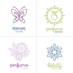 Vector set of perfume and cosmetics logo design templates