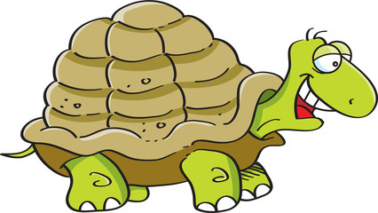 Cartoon illustration of a happy turtle.