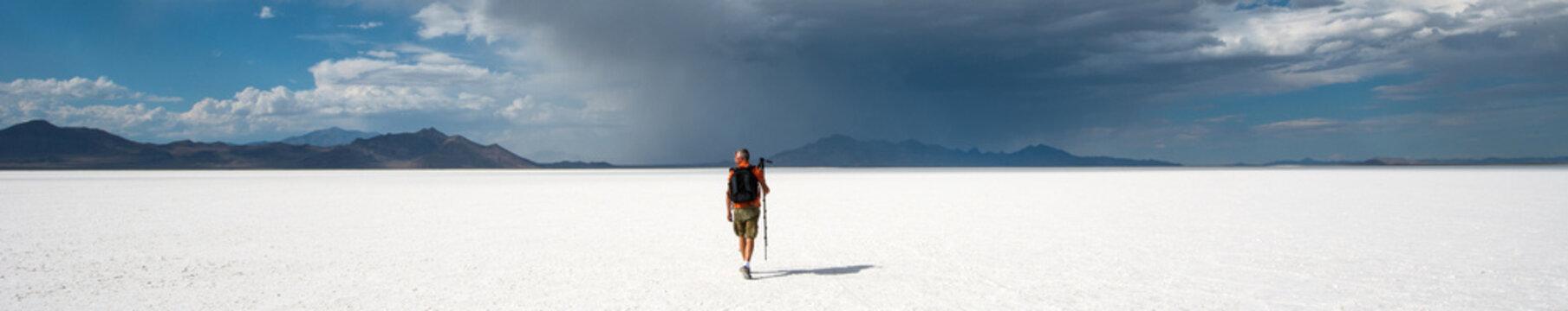 Photographer at Bonneville salt flats, Utah