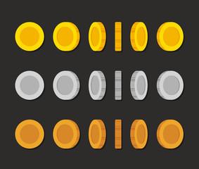 Cartoon coins rotation