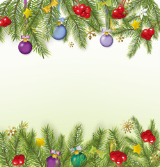Christmas background With Bows, Streamers, Stars, Christmas Ball
